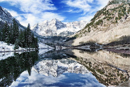 Maroon Bells in Winter 1 by Eneida Gastal-Keith