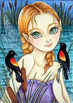 Marsh Fairy w/ Red Winged Blackbirds by Debrah Nelson