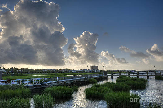 Dale Powell - Marsh Grass View From City Marina Towards Downtown
