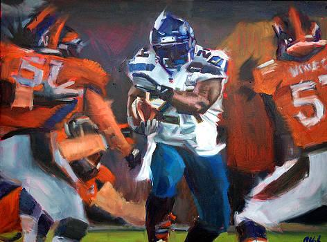 Marshawn Lynch Super Bowl by Aaron Hazel
