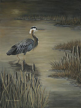 MARSHLAND'S WADER-Great Blue Heron by Patricia Mansell
