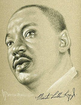 Martin Luther King pencil Portrait by Victor Powell