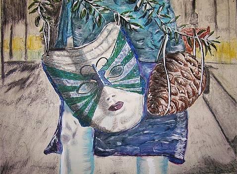 Mask And Pinecone by Linda Vaughon