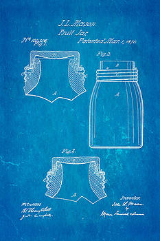 Ian Monk - Mason Fruit Jar Patent Art 1870 Blueprint