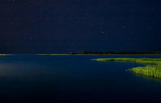 Masonboro Sound At Night by Phil Mancuso