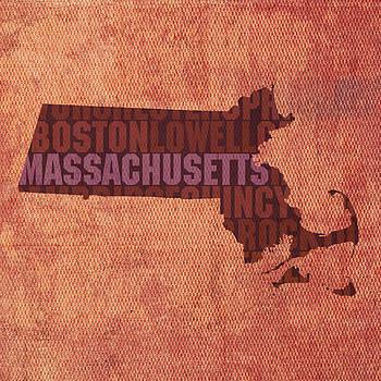 Design Turnpike - Massachusetts Word Art State Map on Canvas