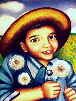 Matias with dandelions by Monica  Vega