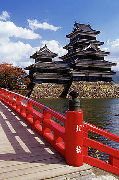 Matsumoto Castle And Red Painted Wooden by Vintage Images