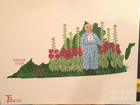 Maw Mullins and her Hollyhocks by Tim Blankenship