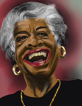 Maya Angelou Laughing by Rich Potter