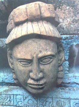 Mayan deity head by Yucatan sculpture artist