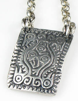 Mayan Earth Mother Talisman Fine Silver with Silver Rolo Cable Chain by Vagabond Folk Art - Virginia Vivier