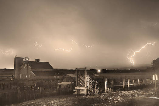 James BO  Insogna - McIntosh Farm Lightning Thunderstorm View Sepia