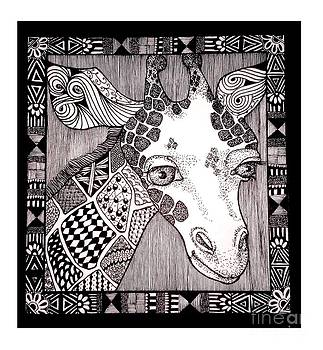 Meanwhile Back In Africa A Sample Doodle Giraffe by Lenora Brown