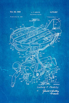 Ian Monk - Meditz Helicopter Device Patent Art 1969 Blueprint