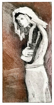 Melancholy - Etching - Girl - Body - Sadness - Stooping - Woman - Fine Art Print - Stock Image  by Urft Valley Art