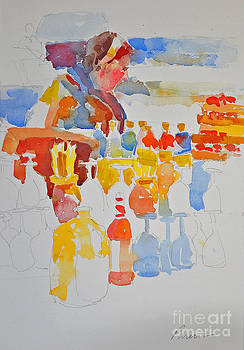 Mercado Lady with Bottles by Roger Parent