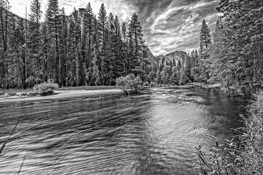 Merced River View Black and White by Bill Boehm