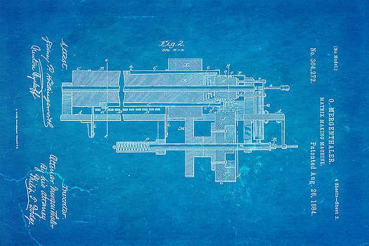 Ian Monk - Mergenthaler Linotype Printing Patent Art 2 1884 Blueprint