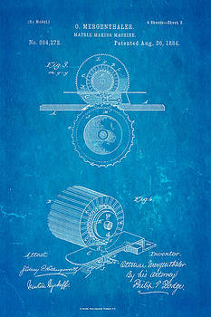 Ian Monk - Mergenthaler Linotype Printing Patent Art 3 1884 Blueprint