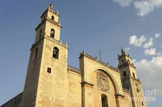 John  Mitchell - Merida Cathedral at Sunset Mexico