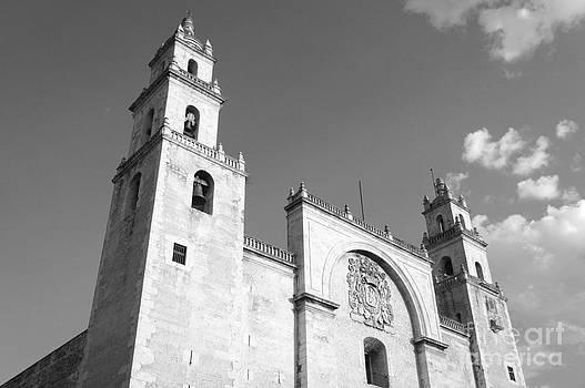 John  Mitchell - Merida Cathedral Monochrome Mexico