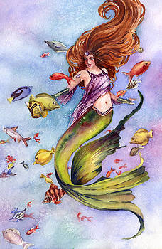 Mermaid and Tropical Fish by Beth Kantor