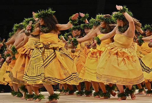 Venetia Featherstone-Witty - Merrie Monarch Hula Dancers in Yellow Dresses