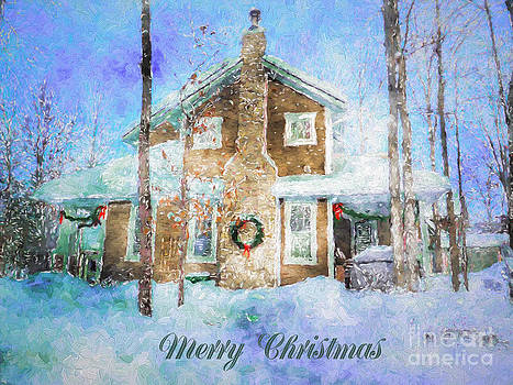 Merry Christmas House with Wreath by Claire Bull
