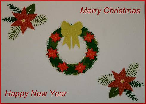Merry Christmas Wreath and Poinsettias by April Wietrecki Green