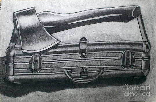 Metal Box and Ax by Cecilia Stevens