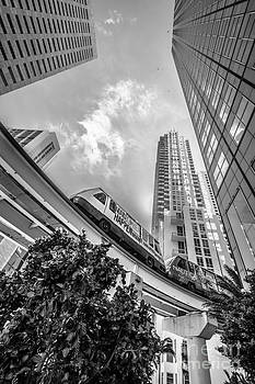 Ian Monk - Metromover working in downtown Miami - Black and White