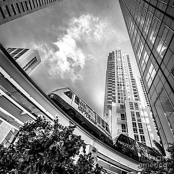 Ian Monk - Metromover working in downtown Miami - Black and White - Square Crop