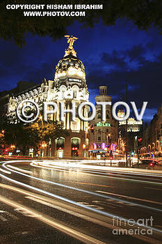 Metropolis building and Gran Via at night - Madrid - Spain - Limited Edition by Hisham Ibrahim