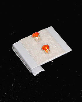 Mexican Fire Opal Studs by Robin Copper