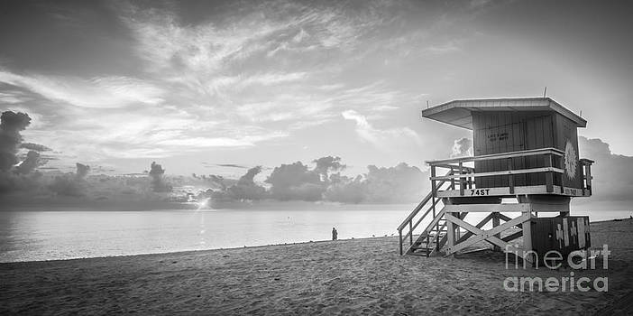 Ian Monk - Miami Beach - 74th Street Sunrise - Panoramic - Black and White