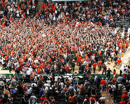 Miami Hurricanes Fans Rush the Court at BankUnited Center by Replay Photos