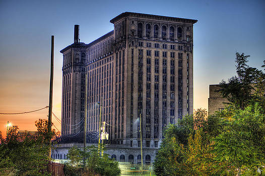 Michigan Central Station Sunset Detroit MI by A And N Art