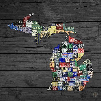 Design Turnpike - Michigan Counties State License Plate Map on Gray Wood