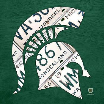Design Turnpike - Michigan State Spartans Sports Retro Logo License Plate Fan Art