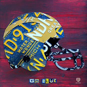 Design Turnpike - Michigan Wolverines College Football Helmet Vintage License Plate Art