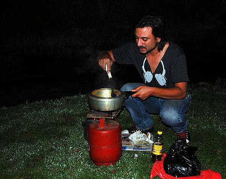 Mid Night Cooking at River Bank by Vijinder Singh