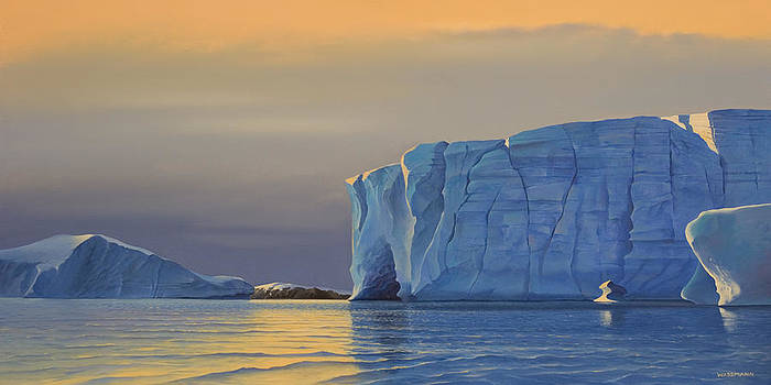 Cliff Wassmann - Midnight Sun Icebergs at Sunset