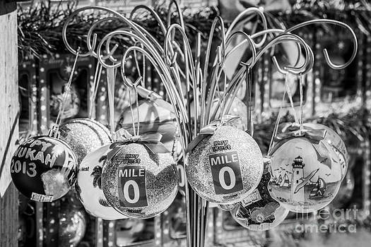 Ian Monk - Mile Marker 0 Christmas Decorations Key West 2 - Black and White