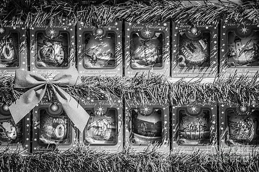 Ian Monk - Mile Marker 0 Christmas Decorations Key West 4 - Black and White