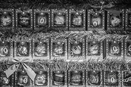 Ian Monk - Mile Marker 0 Christmas Decorations Key West - Black and White