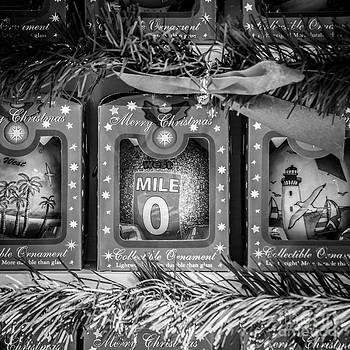 Ian Monk - Mile Marker 0 Christmas Decorations Key West - Square - Black and White