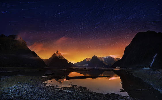 Milford sound with startrails 3 by Weerapong Chaipuck