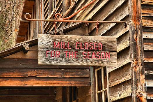Adam Jewell - Mill CLosed For The Season Sign