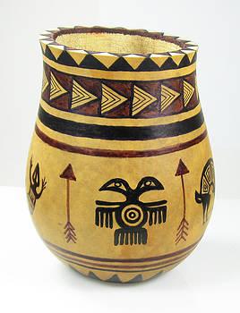 Mimbres Tribal Hand-Painted Gourd Vase by Vagabond Folk Art - Virginia Vivier